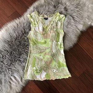 Komarov Crinkle Crepe Sleeveless Blouse Lace Trim